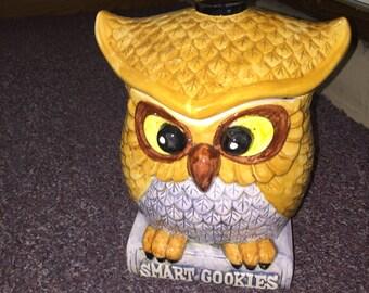 Vntg SMART COOKIE OWL Ceramic Cookie Jar