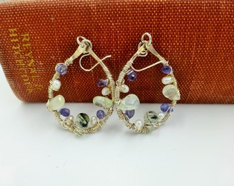 Sterling silver earrings with prehnite iolite and pearls