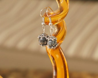 Off-Black Glass Bead Earring by Head Over Beads