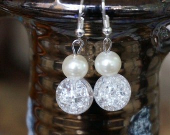 Glass Beaded and Cultured Pearl Earrings by Head Over Beads
