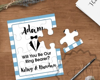 Puzzle Cards to my Ringbearer on my Wedding Day, Best Man Gift, Groomsmen Invitation, Wedding Party, Gift, Bridal Party, Gift Notes Proposal