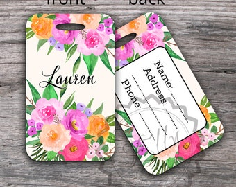 Watercolor Floral Luggage Tag - Bag Tag With Custom Name, Personalized Travel Gift, Sport Bag Tag, Backpack or Luggage Tags for Honeymoon -2