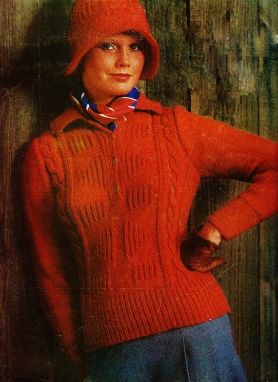 Cable Henley Sweater and Hat Vintage Knitting Pattern