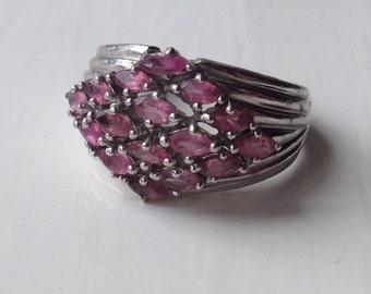 Superb Solid Sterling Silver 5.1g Pink Topaz Cluster Gemstone Ring Size US 8 - UK P