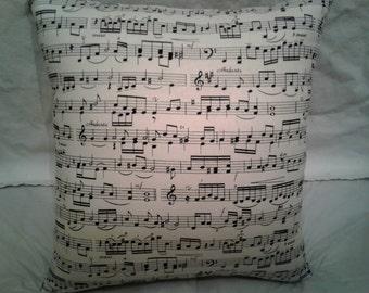 Sheet Music Pillow, 12 x 12 Decorative Pillow