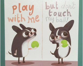 Canvas Print How Boston Terriers Play Dog Illustration Art