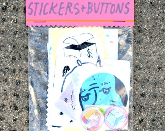 Stickers + Buttons Pack