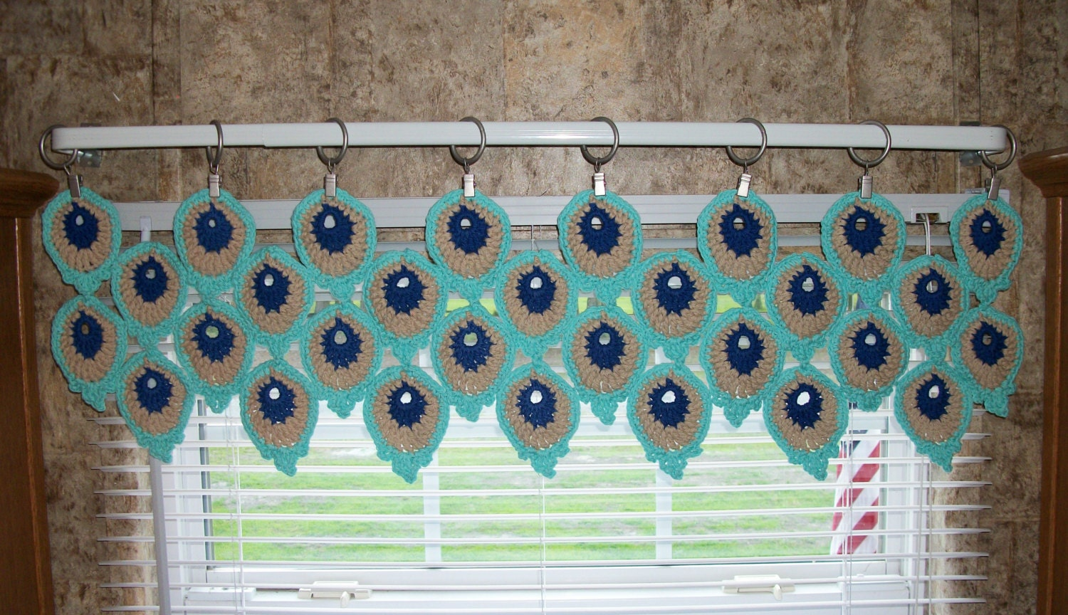 Peacock Feather Window Valance Crochet Kitchen Curtain