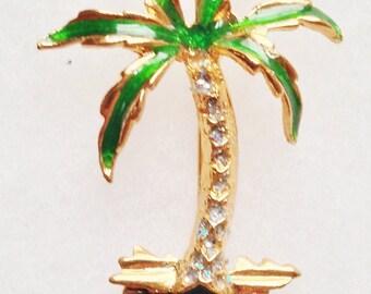 Rhinestone & Enamel on Gold PALM TREE Pin