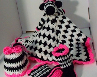 Zebra Baby Set - Lovey, Boots, Hat