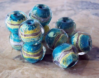 National Park. Handmade Lampwork Nuggets (5 pcs) Dark Turquoise, Light Green, Silvered Ivory 14-15 x 12-13 mm