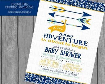 Boy baby shower invitation, arrows, a new adventure, navy, mint, mustard, first time parents, forest, woodland, template, printable, digital