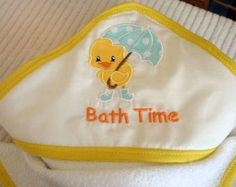 Personalized Hooded Bath towel and Washcloth set