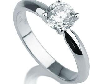0.5 CT Solitaire Diamond Engagement Ring Platinum Round F SI1 Model 9758