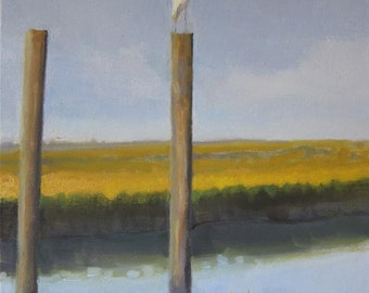 "Egret on marsh //  20 x 16"" // original oil painting // sea bird view"