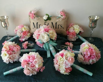 15 pcs  Bridal Wedding Bouquet Package