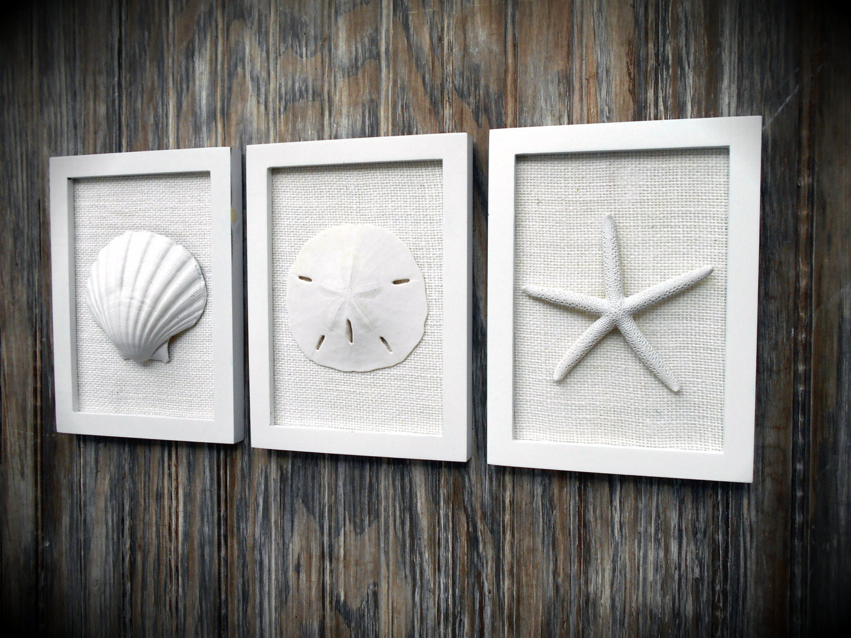 Beach Chic Wall Decor : Cottage chic set of beach wall art sea shells home decor