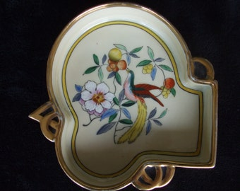 Vintage Noritake Bird Ashtray or Dish , M in Wreath Morimura Bros Made in Japan , Hand Painted