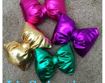 Pillow Hair bow- Hairbows- Gold- Pink-Purple-Green-Metallic Hairbows-Pillow Hairbows-Pillow hairbow headbands