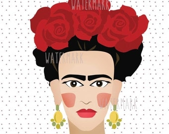 Frida kahlo, instant download, digital print, simple art, colourful, fashion, inspiration, style icon