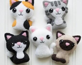 Felt Animals - Felt Cat - Softie Pattern - Plushie Pattern - Cat Felt Pattern - Felt Cat Pattern - Siamese Cat - Cat Plush - Cute Plush Cat