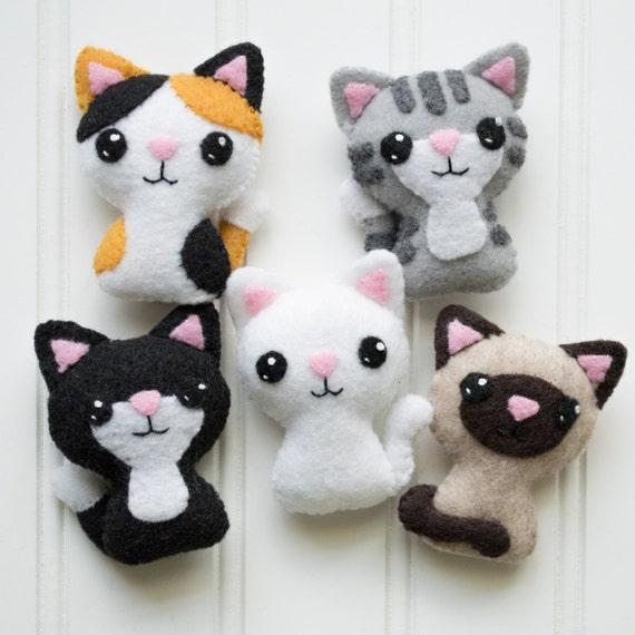 Felt cat pattern sewing pattern cat softie pattern - Cat clothing patterns free ...