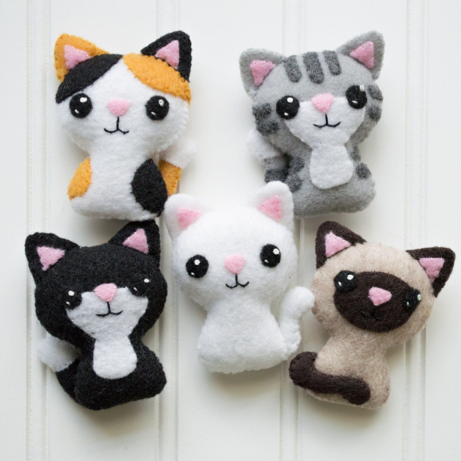 Felt cat pattern sewing pattern cat softie pattern for Sewing templates for stuffed animals
