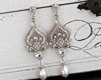 Crystal Bridal Earrings, Art Deco Crystal & Pearl Wedding Earrings, Wedding Jewelry, Bridal Jewelry, Bridesmaid Earrings LUCY