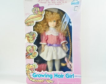 1988 Growing Hair Doll by Eugene Doll Co - New In Box - Crunched Creased Damaged Box - 1980s Boxed Doll - Blonde Girl Doll Blue Eyes