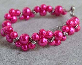rose color pearl bracelets, rose bracelet,glass pearl bracelet,bridesmaids bracelet, bridal bracelet, pearl flower rhinestone bracelet