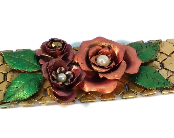 Hand Painted Vintage Style Mesh Banded Cuff Bracelet with Brass Flowers and Leaves Gold Mauve Pearls OOAK One of Kind