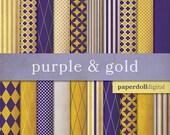 Purple Digital Paper - Gold Digital Paper - Quatrefoil Digital Paper - Distressed Digital Paper - Instant Download - 20 Sheets