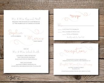 Printable Wedding Invitation, RSVP And OPTIONAL Reception Card Suite-Print Yourself-Digital Invite File