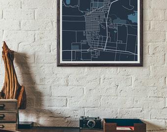 Bluejackets edition - Hibbing minimalist map print
