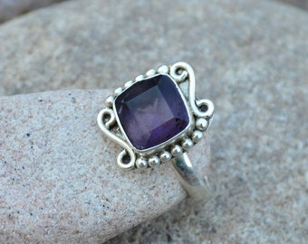 Amethyst Ring - 925 Sterling Silver Ring - Purple Gemstone Ring Size 6.5 - February Birthstone Ring - Gift For Her- Gemstone Jewelry, SLA2