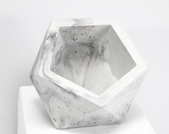 Concrete Geometric Original Medium Icosahedron marble vessel