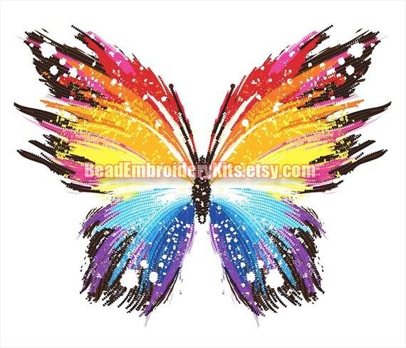 Rainbow Butterfly bead embroidery craft set beaded painting DIY beading kit