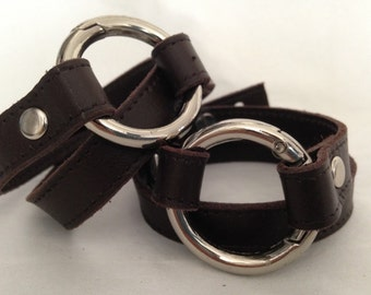 Leather wrap bracelet with Brass Silver ring  Real leather Canadain shop