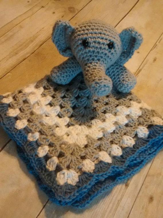 Crochet Elephant lovey blanket by emilycrochetcreation on Etsy