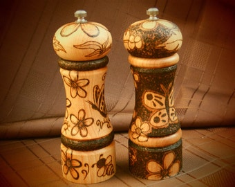 Pyrography Salt and Pepper mill grinder