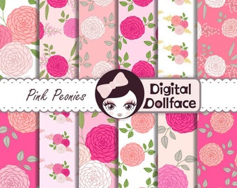 Pink Peonies Floral Digital Paper, Scrapbook Paper, Digital Printables