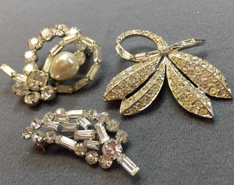 Three Clear Vintage Rhinestone Brooches- Free Shipping