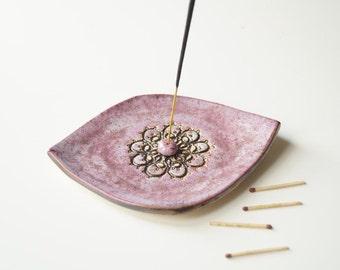 Ceramic Incense Burner, Pink Incense Holder, Incense Tray, Ceramics and Pottery, Handmade Incense Burner, Ceramic Plate, Aromatherapy