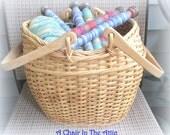 Large Light Rattan/Wicker Yarn Basket with Swivel Handles, Crochet Basket, Kntting Basket