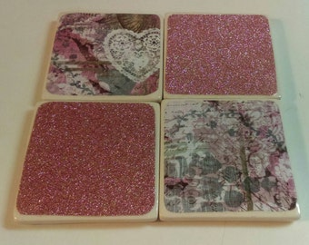 Vintage Wallpaper Tile Coasters (pink)