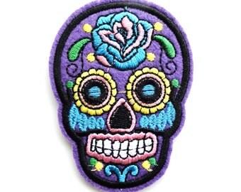 Purple Sugar Skull Day of the Dead Iron On Appliqué Patches - 71mm - Rockabilly - Retro - DIY - Dia de los Muertos - Rose