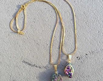 Rainbow Druzy Stone Necklace