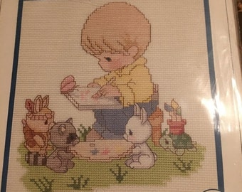 25% off customer app Precious Moments  cross stitch kit complete never opened He is my Inspiration with Boy and animals