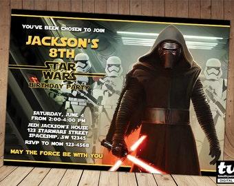 Kylo Ren Star Wars The Force Awakens Birthday Invitation