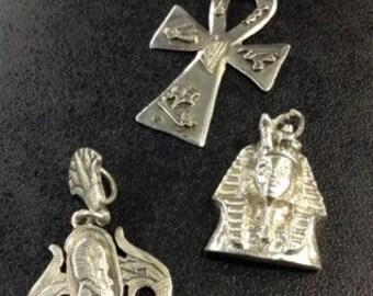 3 egyptian silver pendants , tutenkarmen and ank